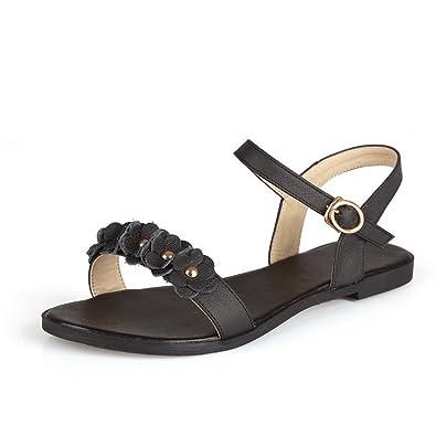 402a13d9735 AllhqFashion Women s Soft Material Buckle Open Toe No-Heel Solid Flats- Sandals