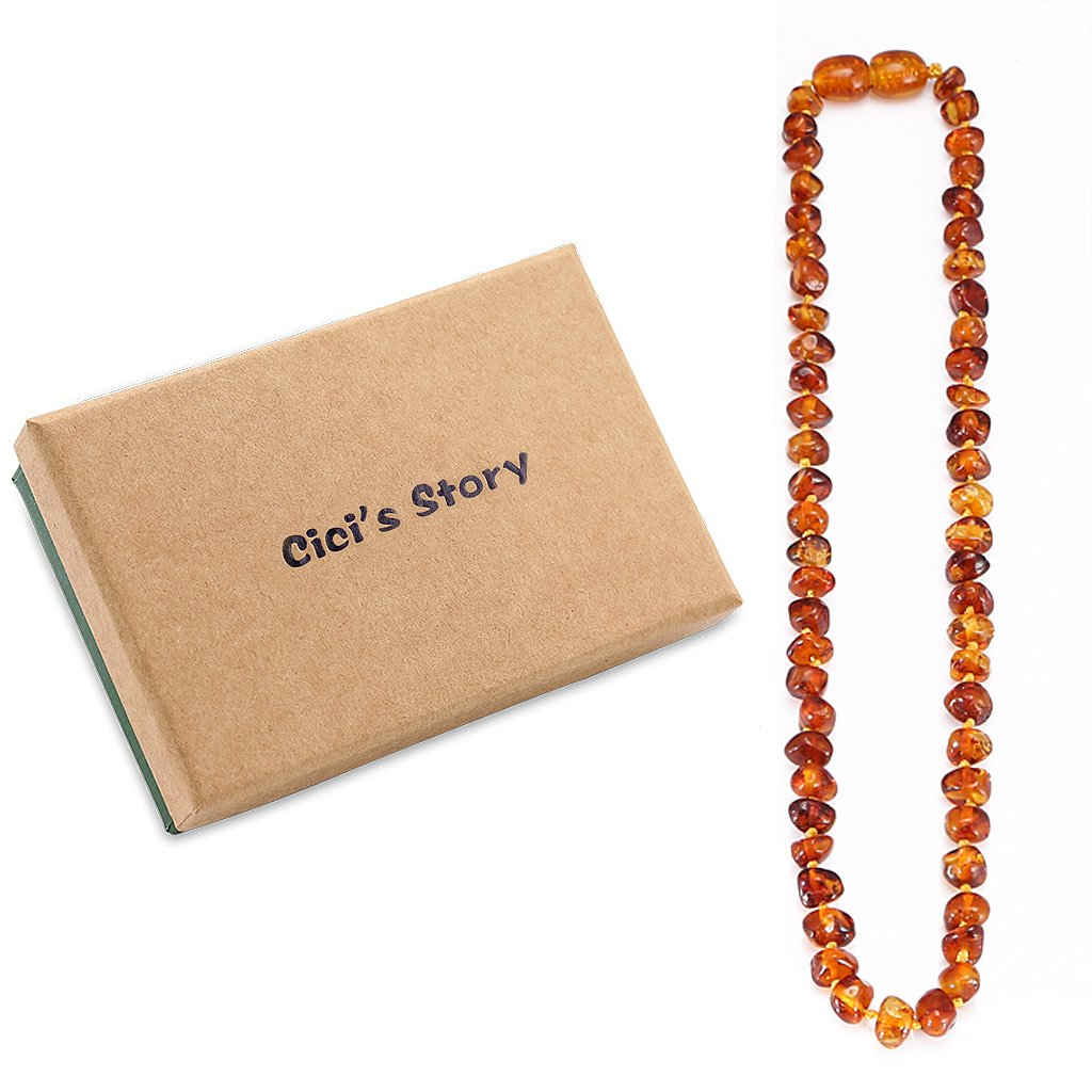 Amber Teething Necklace for Baby (Unisex)(Cognac)(13 Inches) - Baby Gift Sets - Natural Anti Inflammatory Beads.Teething Pain Reduce Properties by Cici's Story   B01DIGVAXS