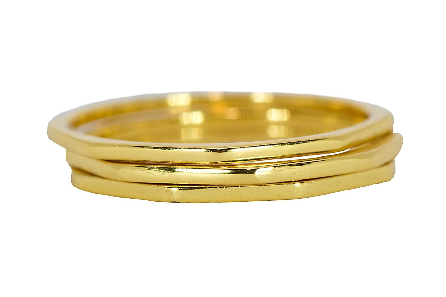 Pura Vida Gold Plated Delicate Stacked Rings - Brass Base .925 Sterling Silver - Size 9