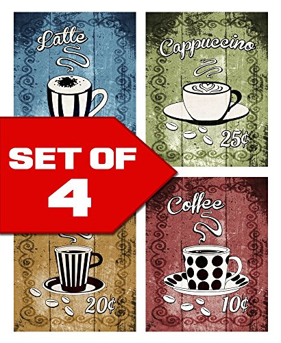 Wallables Wall Decor (Latte, Cappuccino, Espresso, Coffee! Retro Coffee Themed Kitchen Decor Wall Art! Set of four 8x10 Art prints. Kitchen, Cafe, Diner, Restaurant Decor. Designed exclusively for Wallables!)