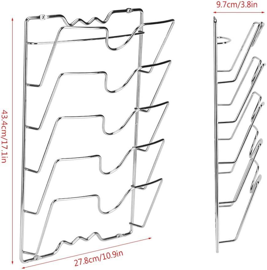 27,8 5 lagig K/üche Pfanne Deckelhalter vertikaler Deckelgestel Wand Halter Rack Deckelhalterung K/üchenzubeh/ör f/ür Topf und Pfannendeckel,Wand- 43,4 t/ürmontierter Topfdeckelhalter 9,7 cm