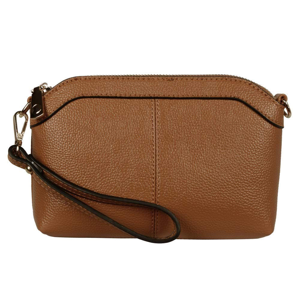 Diter Womens Leather Wristlet Zipper Clutch Wallet, Crossbody Bag Purse (Tan), Medium by Diter