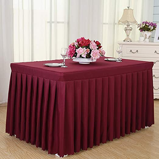 Amazon Com Batsdcb Solid Color Rectangular Tablecloth Hotel Conference Business Table Skirts Blended Red Wine 180x40x75cm 71x16x30inch Kitchen Dining