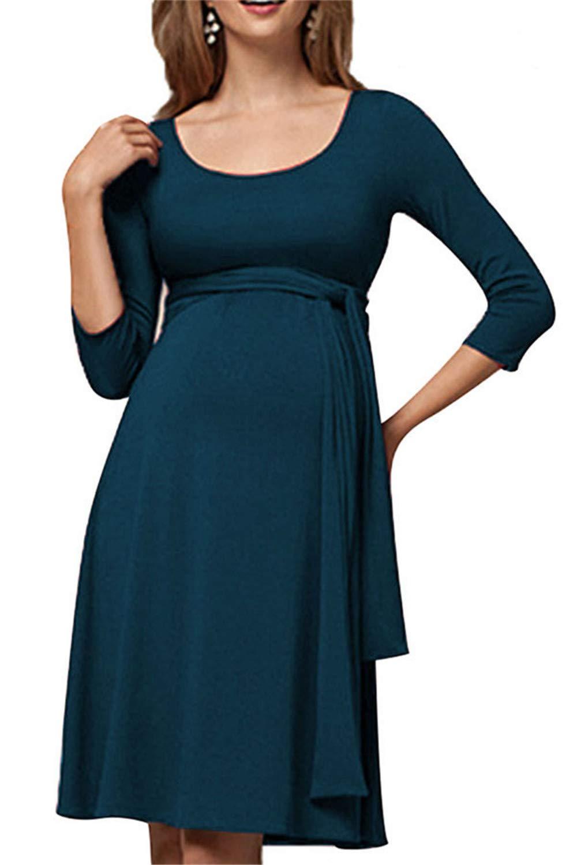 Swallowuk Damen Umstandskleid Schwangerschaft Kleid Gerafften Stillkleid Diskretes Stillen Stretchkleid (L, Grün) Grün)
