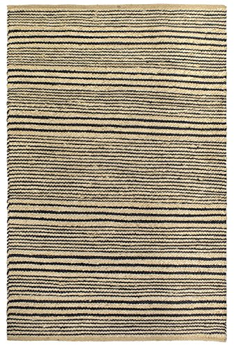 Fab Habitat, Sustainable Jute & Cotton Area Rug/Floor Mat, Eco-friendly Natural Fibers, Handwoven/Congaree, Black Stripe - 2' X 3'