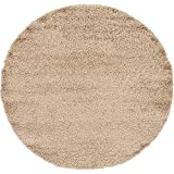 Unique Loom Solid Shag Collection Taupe 6 ft Round Area Rug (6' x 6')