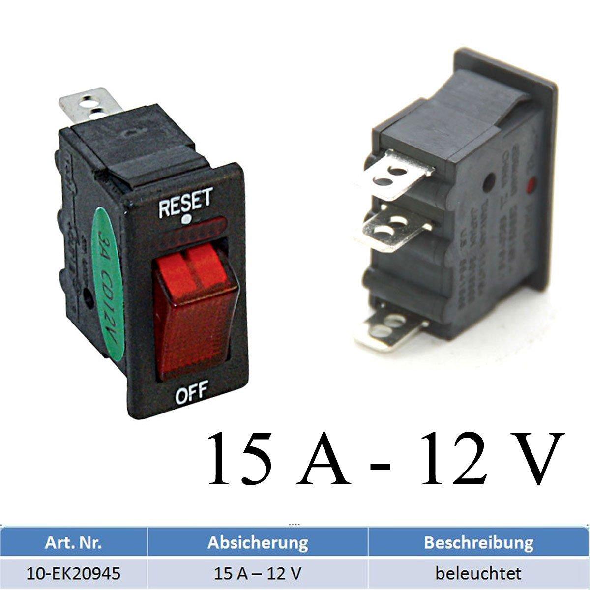 Sicherungsautomat Schutzschalter 12 Volt/15 Ampere mit Beleuchtung bootsshop in Bad Ischl