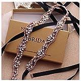 Yanstar Hand Rose Gold Rhinestone Crystal Pearls Wedding Bridal Belts Sashes For Bridal Bridesmaid Gowns