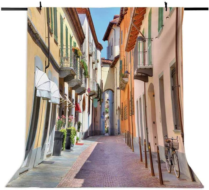 10x15 FT Photo Backdrops,Town of Alba Piedmont Northern Italy Narrow Stone Paved Street Among Colorful Houses Background for Baby Shower Birthday Wedding Bridal Shower Party Decoration Photo Studio