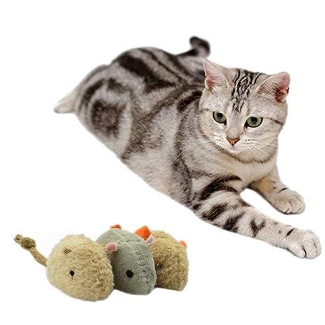 Juguete para gatos, juguete de rata de piel de ratón de ramio de ratón para