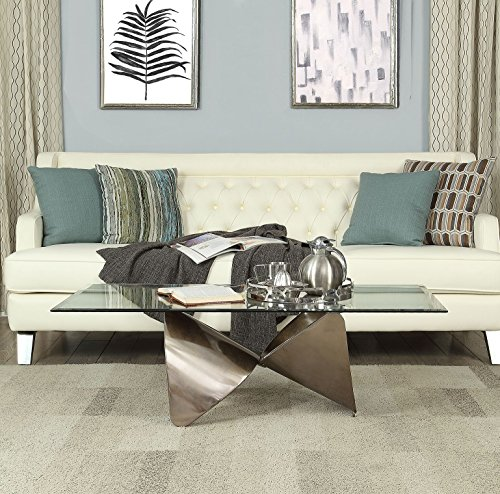 H Contemporary Modern Style 8mm Clear Tempered Glass Top Antique Silver Finish Metal Base Coffee Table ()