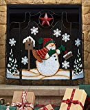 Metal Holiday Snowman Fireplace Screen Country Red Star with Snow Hearth Home Decor ,Christmas Gift