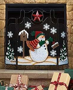 amazon com metal holiday snowman fireplace screen country red star rh amazon com christmas fireplace screensaver free download christmas fireplace screensaver mac
