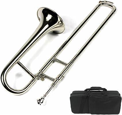 Trombón si bemol tamaño mini con estuche y boquilla, acabado chapado en níquel: Amazon.es: Instrumentos musicales
