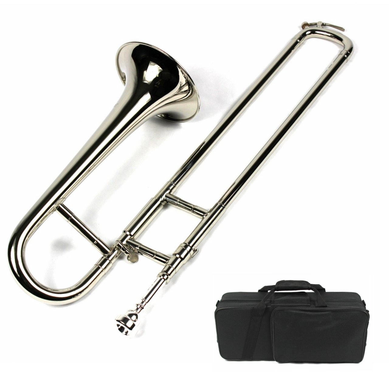 Brand New Bb Mini Trombone w/ Case and Mouthpiece- Nickel Plated Finish by Moz