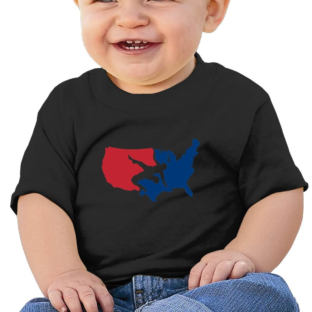 Sfjgbfjs Baby T-Shirt Cool USA Map Wrestling Baseball Pattern Soft and Cozy Infant T-Shirt by Sfjgbfjs