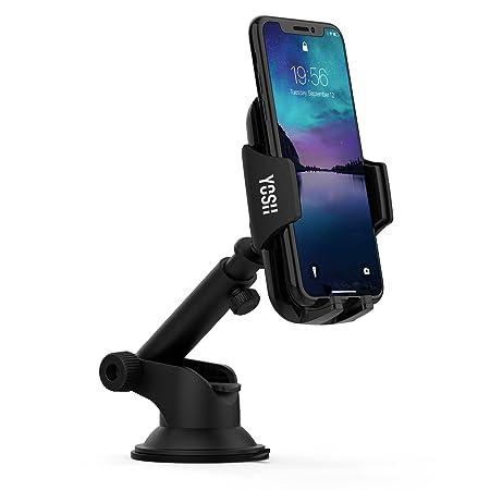 YOSH Support Téléphone Voiture Multifonction avec Bras Extensible Support sur Table de Bord ou Pare-Brise pour Universel Smartphone Appareil iPhone 8/8 Plus /X / 7/7 Plus 6 /6S/ 6 Plus 5/5S/5C/SE Samgsung Galaxy S8/S7 Edge/S6 Edge HTC Huawei LG Sony Nokia, GPS, MP3. etc