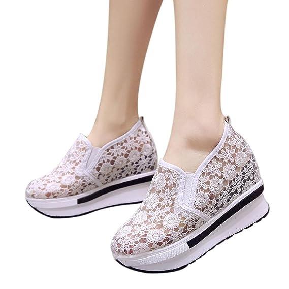 e084a87c6ba6a Elecenty eleganti Scarpe con zeppa aumentate Scarpe casual da donna Scarpe  con piattaforma traspirante in mesh traspirante Donna scarpe da ginnastica   ...