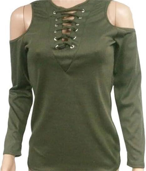 383c6b3c72 CRYYU-Women Sexy V Neck Lace-up Cold Shoulder Long Sleeve T-Shirt ...