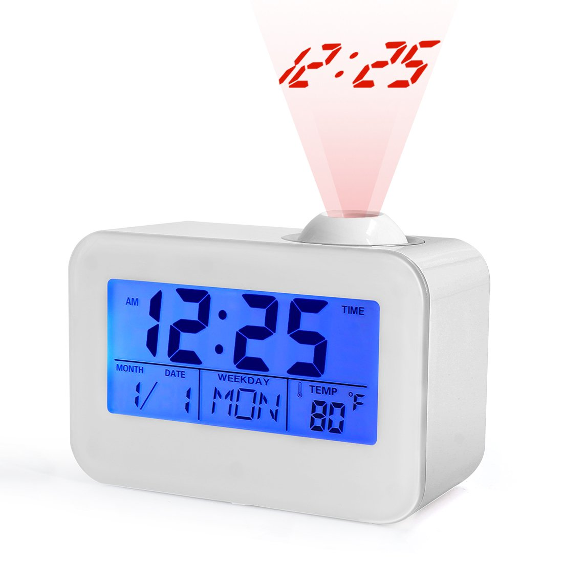 Projection Alarm Clock,USCVIS 12/24 Hour Snooze Function, Sound Controlled Backlight, Display with Indoor Temperature/Weekday/DATE on the LED Screen.