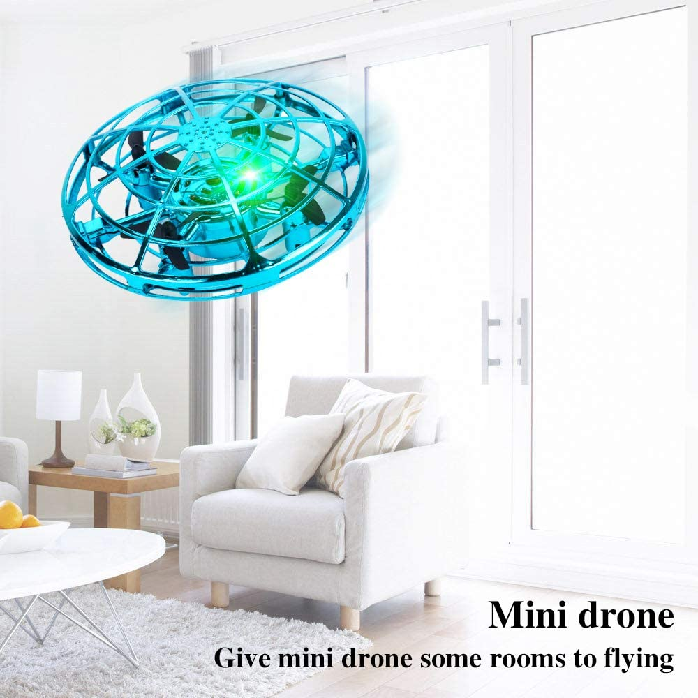 Kim Player UFO Drone-Hand Operated Drones Flying Ball Drones for Kids and Adults Indoor Flying Toys with 360 Rotating and Shinning LED Lights Helicopter Toy for Boys or Girls Blue