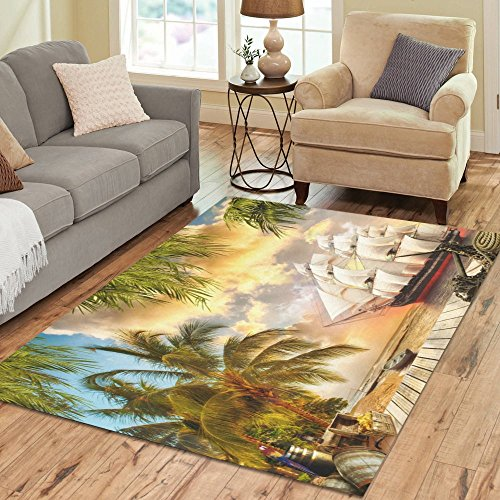 ADEDIY Personalized Rug Pirate Ship Palm Tree Wooden Wharf Area Rug 7'x5' Floor Rug for Living Room Bedroom