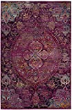 Safavieh Crystal Collection CRS512S Fuchsia Pink and Purple Distressed Bohemian Medallion Area Rug (5' x 8')