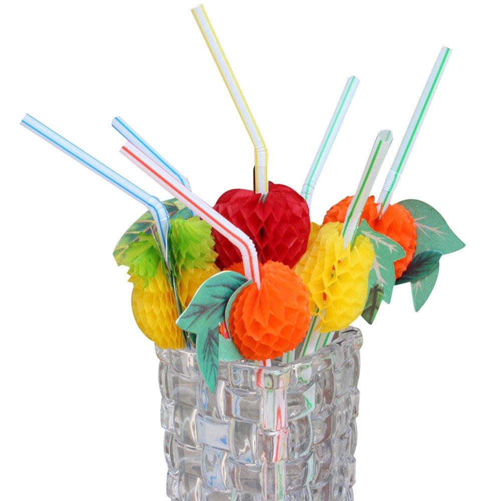 100PC Neuheit Plastique Stroh-Frucht-Getr/änk-Dekorations-Strohe verr/ücktes Cocktail-Stroh eliaSan Home 20//50