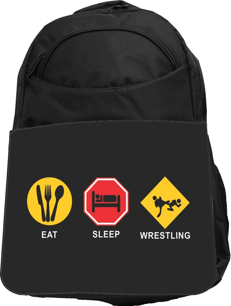 Rikki Knight UKBK Eat Sleep Wrestling Tech BackPack - Padded for Laptops & Tablets Ideal for School or College Bag BackPack