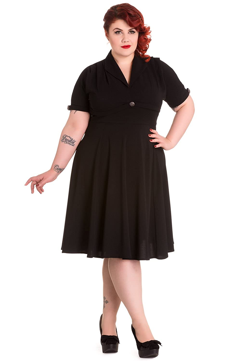 Plus Size Vintage Dresses, Plus Size Retro Dresses Hell Bunny Plus Size 60s Vintage Style Jocelyn Flare PartyDress $87.00 AT vintagedancer.com
