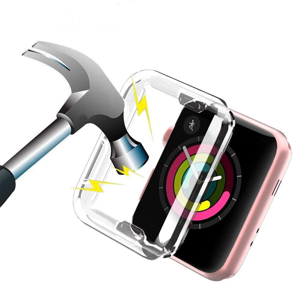 Funda Reloj Apple Watch 38mm Transparente,Apple Watch Series 3 Funda Protector de Pantalla Completo TPU Suave Ultra Delgado Protectora Carcasa para Reloj Apple Watch Series 3/Series 2