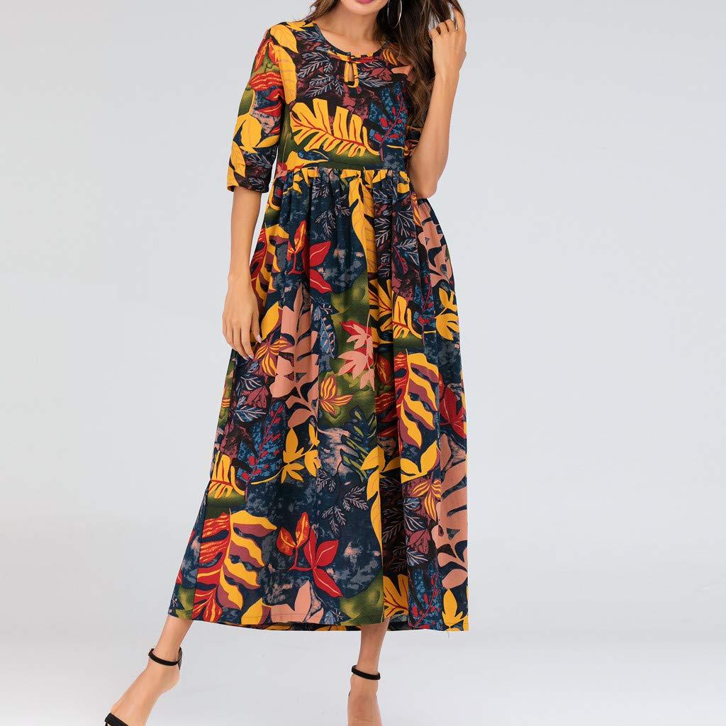 Onegirl Women's Summer Casual Loose Maxi Dress Plus Size Half Sleeve Folk-Custom Leaves Print Thin Cotton Long Dress Yellow by Onegirl-dress (Image #2)