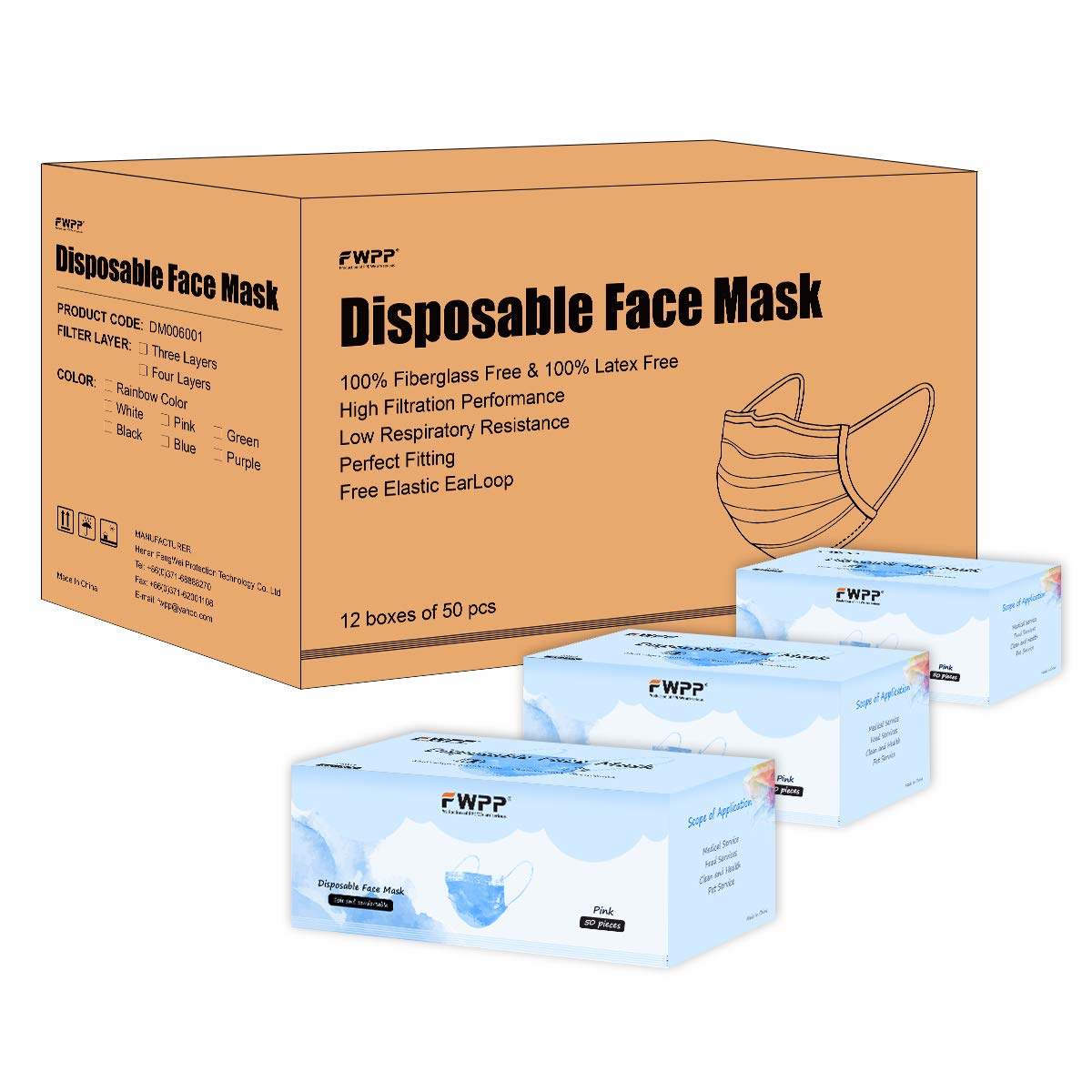 FWPP 600 pcs Breathable Earloop Disposable Face Masks Surgical Medical Economy Plus Sky Blue by FWPP
