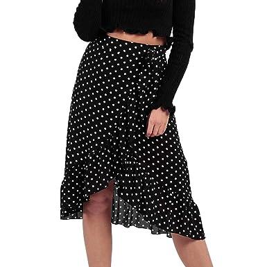 131530142b Wrap Midi Skirt for Women Summer Casual Bow Bandage Ruffle Hem Wave Point  Frill Split Skirt