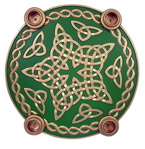 (Celtic Knot Star Advent Wreath Candleholder with Wax Taper Candles, 9 1/2)