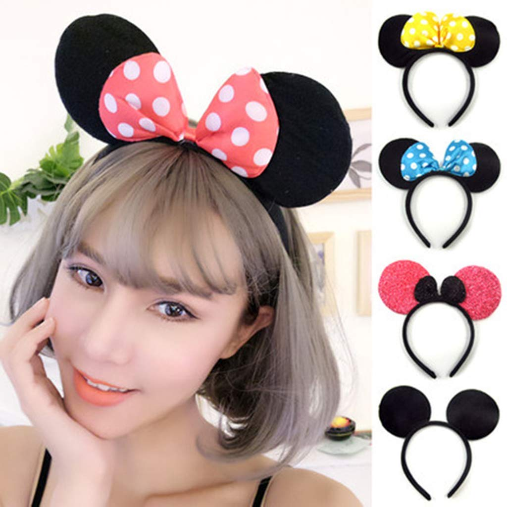 DH Minnie & Mickey Mouse Ear and Red Bow Headband for Girls Birthday Costume Party (12 pcs pack) by DreamHigh (Image #5)