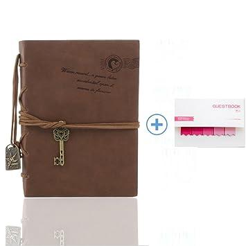 Queta Cuaderno, cuaderno diario /Cuaderno de agenda y viaje /Cuerda clásica/Cubierta de cuero de época PU A6/160 hojas, Color retro.