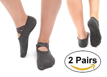 SANIQUEEN.G 2 Pares Mujer Calcetines de Yoga Pilates Calcetines Fitness/Danza/Ballet Calcetín Tamaño UK 2,5-7/EU 35-40