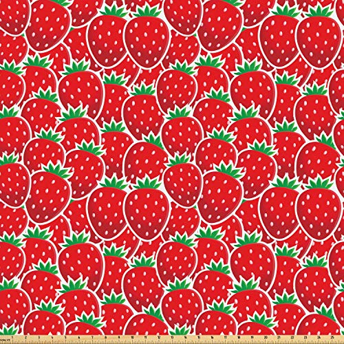 Ambesonne Fruits Fabric by The Yard, Strawberry Themed Botany Seeds Yummy Food Organic Growth Diet Health Print, Microfiber Fabric for Arts and Crafts Textiles & Decor, 10 Yards, Red Hunter Green ()