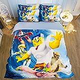 The Spongebob Movie Animation Design Bedding Set, Decorative 4 Piece Bedding Set with 2 Pillow Shams, Multicolor for Teens Girls Little Boys,1.2m