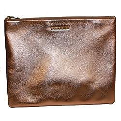 Saint Laurent 'Letters' Metallic Rose Gold Calfskin Leather Zip Clutch, Large 328517