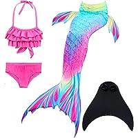 DNFUN Flicka sjöjungfru-svans baddräkt – prinsessa cosplay badkläder med sjöjungfru, monofena för simning