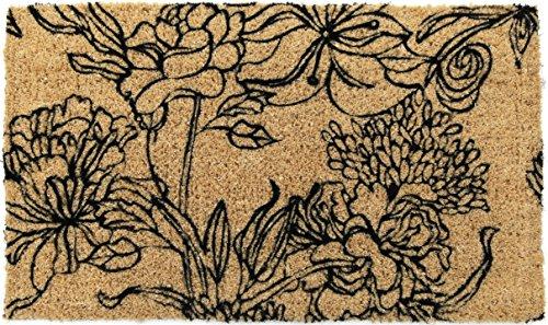 Entryways Ink Bouquet, Hand-Stenciled, All-Natural Coconut Fiber Coir Doormat 18