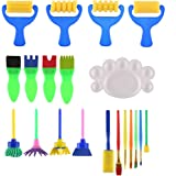 VEYLIN 20 Pieces Kids Paintbrushes Kits Sponge Foam Painting Brushes Accessory Set with Palette