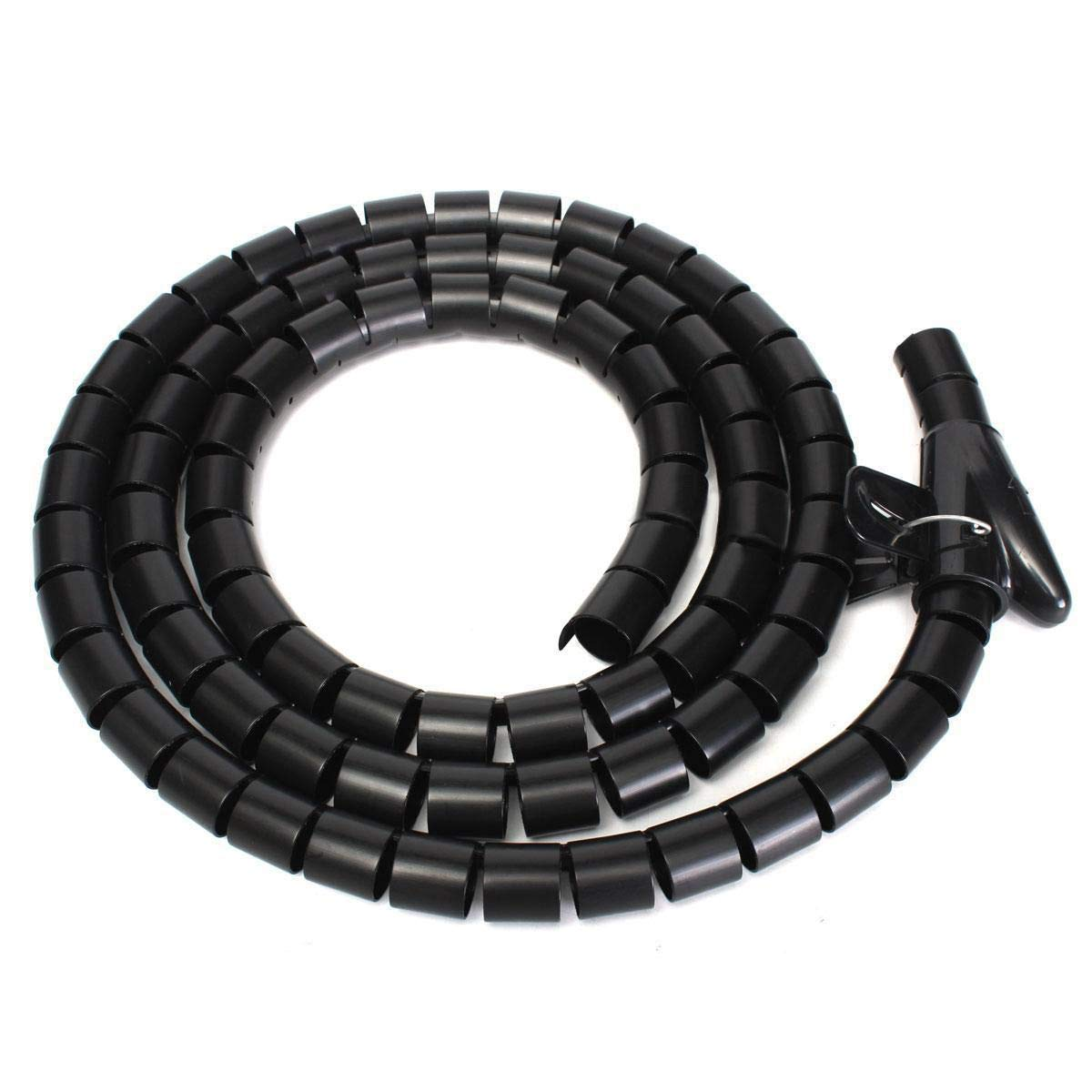 2M 10mm//25mm Spiral Cable Wrap Tidy Cord Wire Banding Storage Organizer Tools