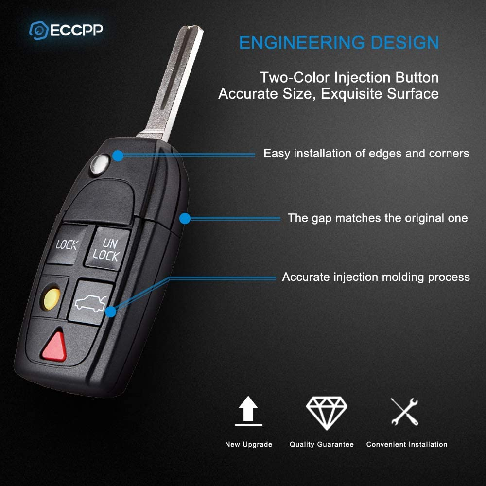 ECCPP 1PC 5 Buttons Uncut Keyless Entry Remote Control Car Key Fob Shell Case Replacement fit for Volvo Series LQNP2T-APU