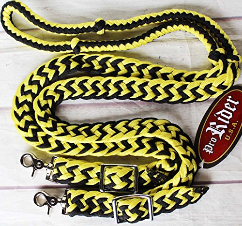 PRORIDER Roping Knotted Horse Tack Western Barrel Reins Nylon Braided Yellow 8ft 607168