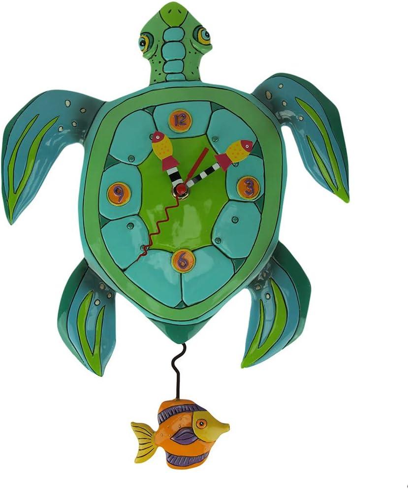 Allen Designs Sup Dude Whimsical Turtle Pendulum Wall Clock