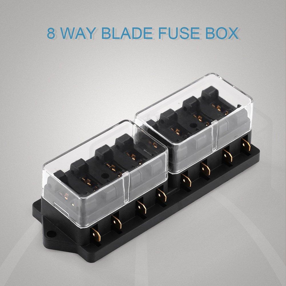 Fuse Block, 4 Way/6 Way/8Way Blade Fuse Box Holder Block for Car Truck Boat Marine Vehicle(4 Way) VGEBY