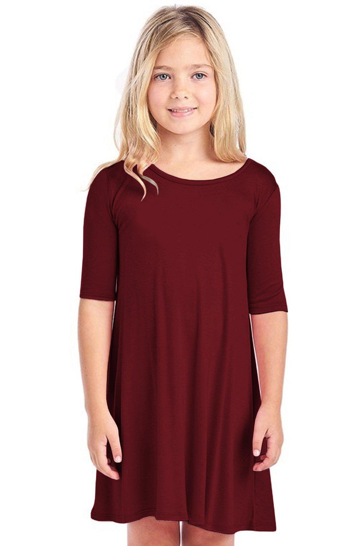 Foshow Girls Short Sleeve Dresses Summer Fall Swing Flowy Pleated Cute T-Shirt Dress Size 6-12